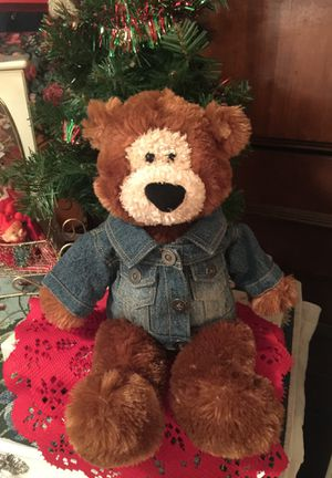"""Adorable Gund"""" quality brand Everywhere Bear fuzzy brown with cute jean jacket """" clean nice 18 inches long non smoke. Great x- mass gift for Sale in Northfield, OH"""