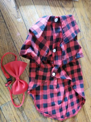 Plaid Shirt and Bow Tie for Small Dog for Sale in Parkersburg, WV