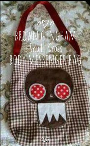 Brown Gingham Skull Cross Body Messenger Bag By Monstor Booty Trends for Sale in Round Rock, TX