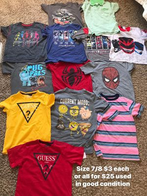 Kids used clothes size 7/8 in great condition $3 each or all for $25 for Sale in Palmdale, CA