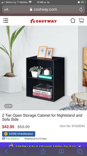 2 Tier Open Storage Cabinet for Nightstand and Sofa Side for Sale in Bakersfield, CA