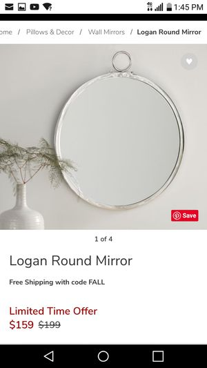 Pottery barn logan chrome round wall bathroom mirror for Sale in Port St. Lucie, FL