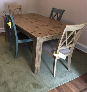 Mestler Farm House Table Two antique Blue Chairs Two Antique White Chairs for Sale in Haddon Heights, NJ