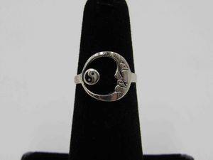 Size 4.5 Sterling Silver Half Moon Yin Yang Band Ring Vintage Statement Engagement Wedding Promise Anniversary Bridal Cocktail Friendship for Sale in Lynnwood, WA