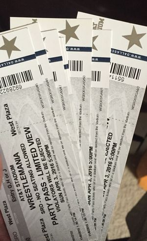 Wrestlemania tickets party passes for Sale in Mansfield, TX