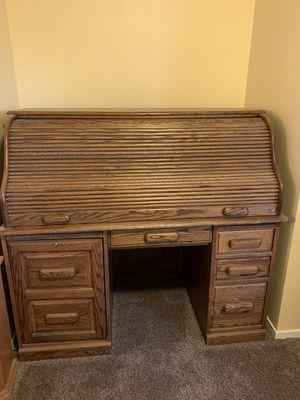 Solid Oak Roll Top Desk for Sale in Visalia, CA