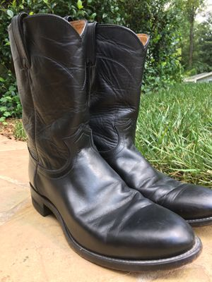 MENS JUSTIN USA BOOTS BLACK LEATHER ROPER WESTERN BOOTS #3133 Ranch Work 11D for Sale in Atlanta, GA