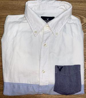 American Eagle Men's White/Blue Button Down Dress Shirt Medium for Sale in Grand Rapids, MI