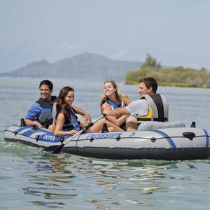 Intex 5 inflatable boat, trolling motor, floor base, motor mount and marine battery for Sale in Austin, TX