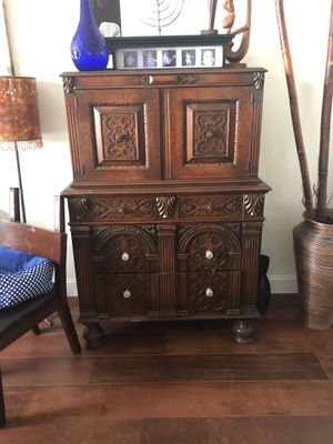 Antique hand carved Walnut armoire. Highest quality and craftsmanship for Sale in Pembroke Pines, FL