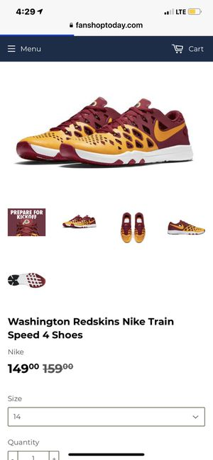 Washington Redskins Nike Train Speed 4 Shoes (size men's 12) for Sale in McLean, VA