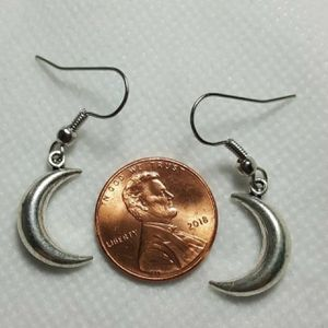 Moon Shape 925 Sterling Silver Charms Earrings -Good for all occasions for Sale in Queens, NY