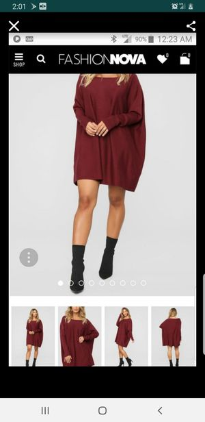 Fashion nova burgundy sweater dress size medium super soft and comfy for Sale in Ontario, CA