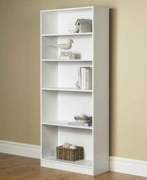 "72"" 5-Shelf Wide Bookcase, White for Sale in Providence, RI"