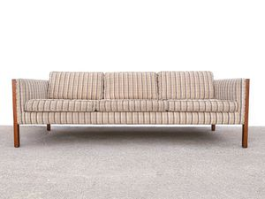 Mid Century Modern Solid Walnut Framed Three Seat Striped Sofa for Sale in Los Angeles, CA