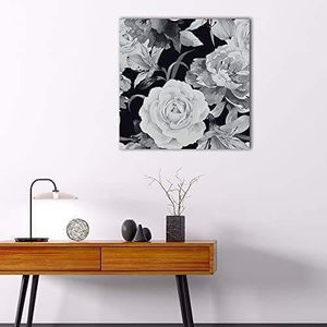 ((FREE SHIPPING)) Square canvas wall art - closeup flower petals in black white Painting like print for Sale in Diablo, CA