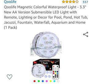 "Qoolife Magnetic Colorful Waterproof Light - 3.3"" New AA Version Submersible LED Light with Remote, Lighting or Decor for Pool,,(1 Pack) for Sale in La Habra Heights, CA"