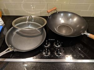 Pan and wok, sleeping bag, pancake molds other items, moving sale for Sale in Miami, FL