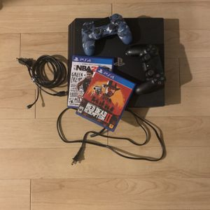 PS4 Pro 1TB with 2 Wireless Controllers + 2 Games for Sale in Seattle, WA