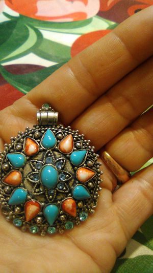 Native American Spiny oyster/ turquoise silver pendant, gorgeous for Sale in Lakewood, CA