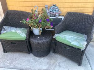 Used patio chat set one chair bent $50 firm pick up only for Sale in Riverside, CA