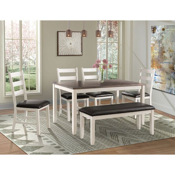 Mavis 6 Piece Solid Wood Breakfast Nook Dining Set