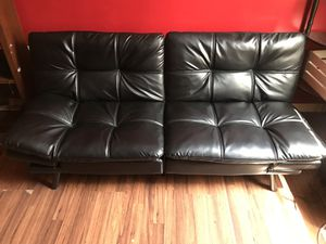 Leather Memory Foam Futon (Black) for Sale in Bowie, MD