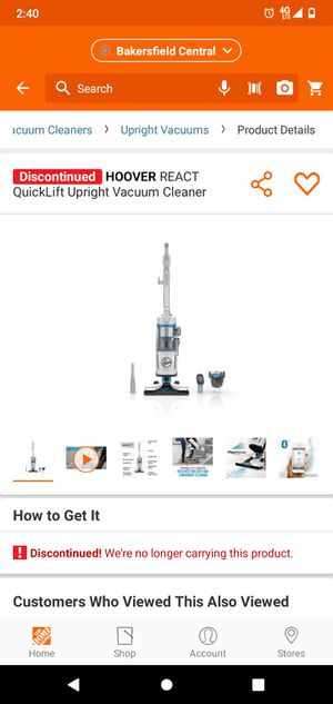 HOOVER REACT QuickLift Upright Vacuum Cleaner - aspiradora for Sale in Bakersfield, CA