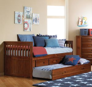 Donco Twin Mission Rake Solid Wood Bed with 3 Drawer Underbed Storage & Trundle- Merlot for Sale in Broadview Heights, OH