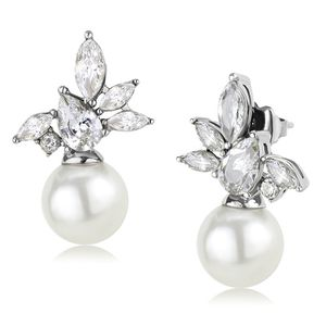 2 ct CZ Diamond White Pearl Earrings for Sale in Garland, TX