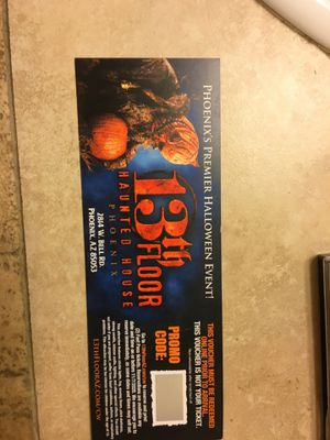 13th Floor Haunted House Ticket Voucher for Sale in Mesa, AZ