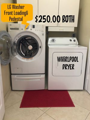 LG Front Loading Washer with pedestal & Whirlpool Dryer for Sale in Miramar, FL