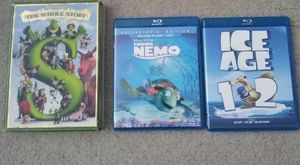 Disney kids Blu-ray movie Shrek DVD, ice age, finding nemo for Sale in Grapevine, TX
