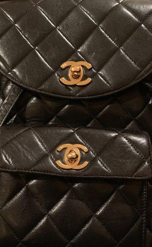 Chanel Matelasse CC Logo Chain Backpack Rucksack Lambskin Leather Black for Sale in Sterling, VA