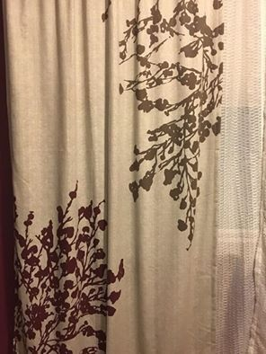 (Two sets) Floral curtains & decorative sheer curtains