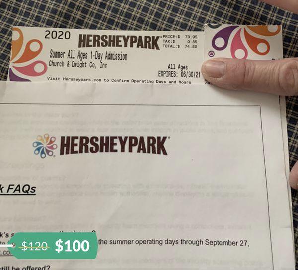 2 Hershey Park tickets