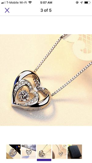18k white Gold Filled double heart necklace rose gold for Sale in Falls Church, VA