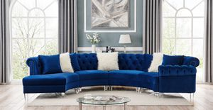 Take Home This Blue Velvet Sectional With $54 Down Today for Sale in Dallas, TX