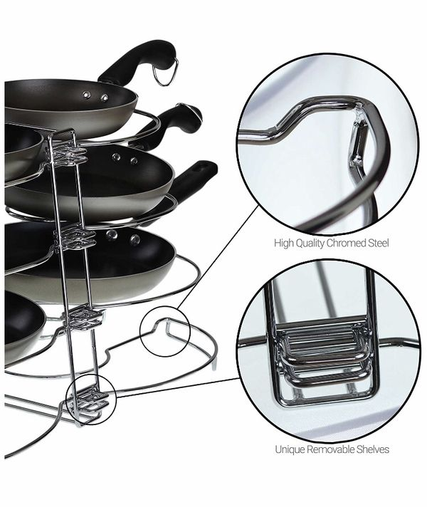 Double Pot & Lid Organizer, Holds up to 8 Pans & Lids with Unique Adjustable Racks