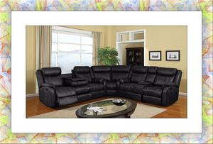 C shape black bonded leather recliner sectional free shipping for Sale in Fairfax, VA