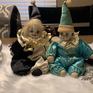 """VINTAGE 2 Small Clown Doll Porcelain Face Moveable Arms & Legs Dressed 8"""" Tall for Sale in Collinsville, IL"""