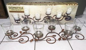 Tea lights centerpiece wrought iron six stands with clear glass candle holders decor for Sale in Chicago, IL