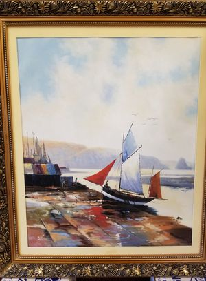 Mother's Day gift, mom Original Abstract Seascape, Seashore, harbor, port, red ships, Sailboat Sailing in Harbor, Pier Oil Painting for Sale in Bozman, MD