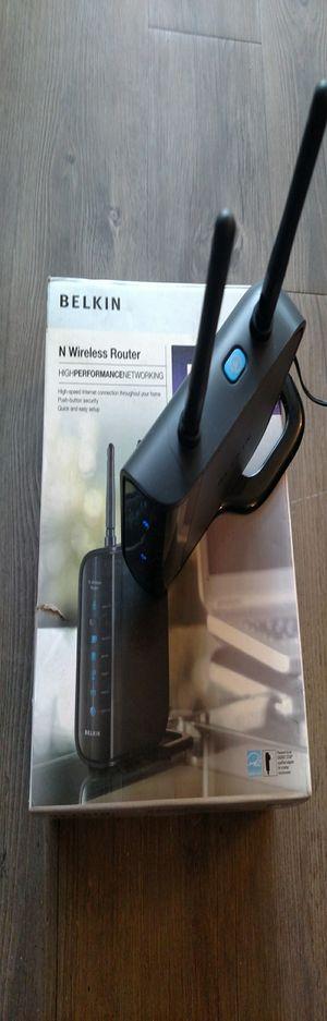 Belkin Wireless N Router 4-Ports, 300 Mbps, 1200ft Range, Black for Sale in Aurora, CO