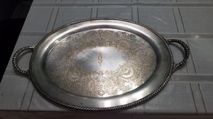 """21"""" Wm Roger's #2780 Silver plate oval tray with handles. With an """"S"""" Monogram. for Sale in Queens, NY"""