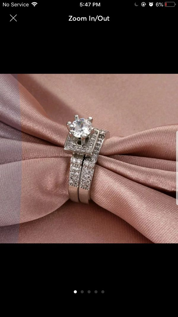 Silver plated sapphire wedding engagement ring band set women's jewelry accessory size 6,7,8 available
