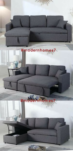 ikea style Grey or black linen sectional sofa with pullout bed and large storage for Sale in Chino, CA
