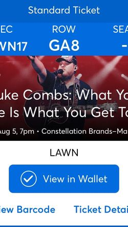 Luke Combs Tickets CMAC Lawn for Sale in Canandaigua,  NY