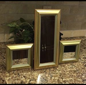 "3 mirrored wall hangings-2 small are 6.5"" sq. and larger is 6.5 x 14 for Sale in Smyrna, TN"