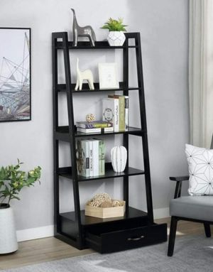 "64"" Black Wood 5-shelf Ladder Bookcase with Drawer for Sale in Pomona, CA"